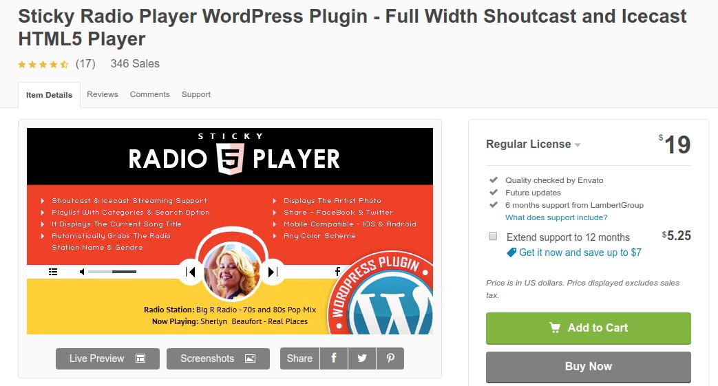 Sticky Radio Player WordPress Plugin