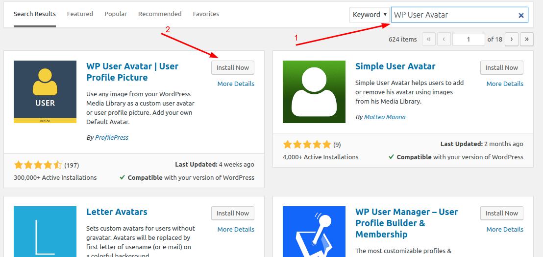 Install WP User Avatar