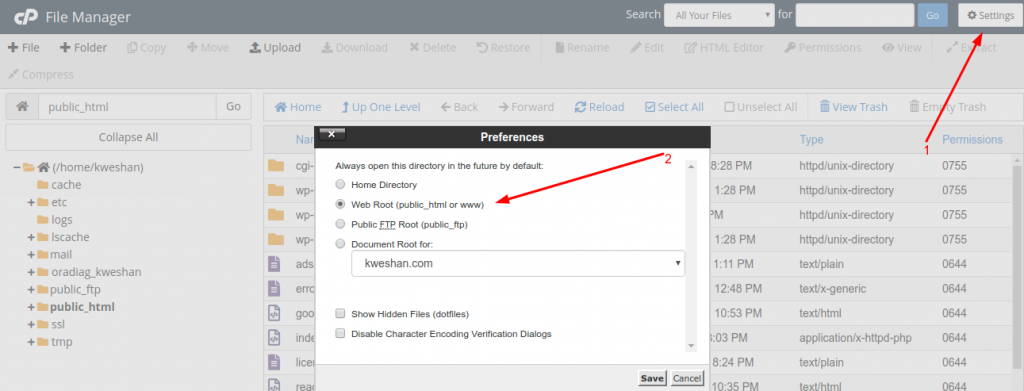 Show Hidden Files in cPanel